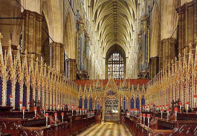 Coro da Abadia de Westminster em Londres