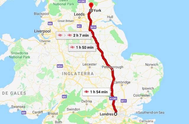 Mapa da viagem de trem de Londres a York