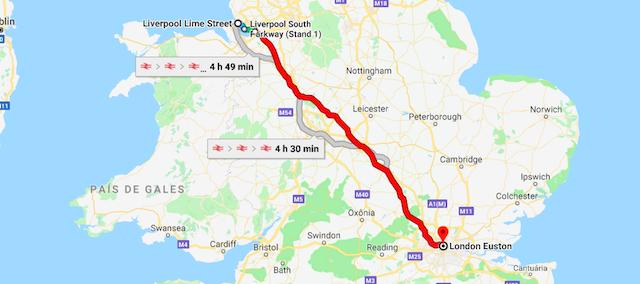 Mapa da viagem de trem de Liverpool a Londres