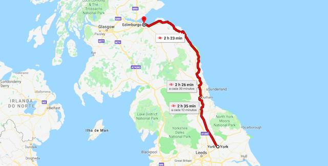 Mapa da viagem de trem de York a Edimburgo
